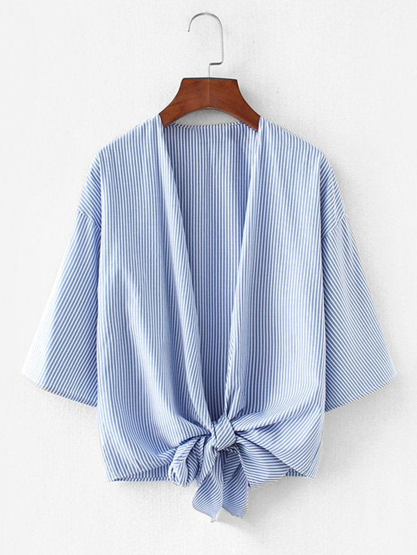 Vertical-Striped Drop Shoulder Kimono