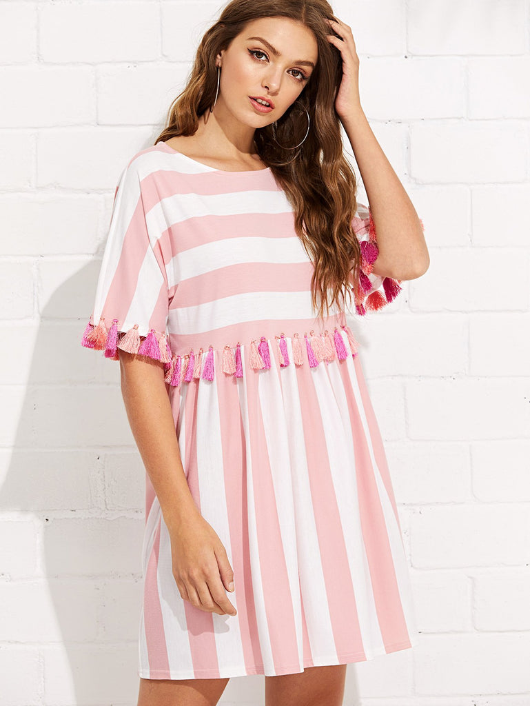 Fringe Trim Striped Dress (3)