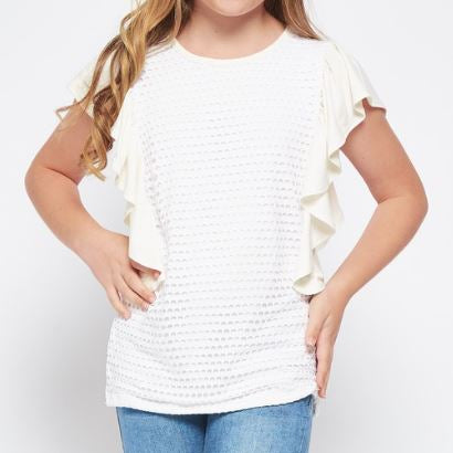 Girls Ivory Ruffle Top