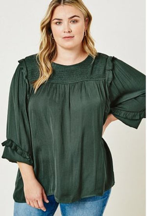Hunter Green Ruffle Sleeve Plus Top