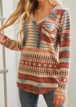 Rust Mix Aztec Top