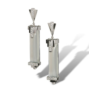 Art Deco inspired with diamonds and extremely rare moonstone prisms, one-of-a-kind earrings