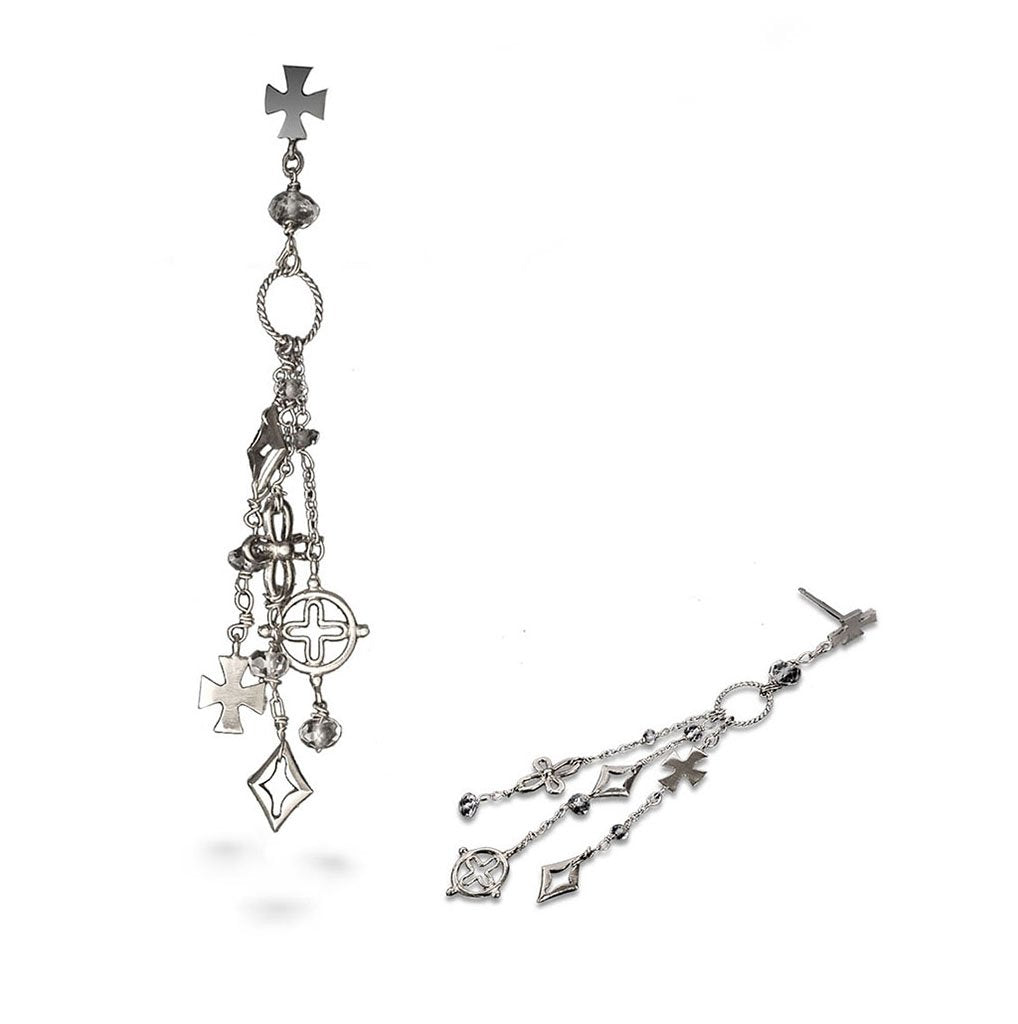 An assortment of crosses with white topaz quartz creates dangle earrings with attitude.