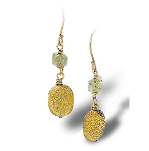 Textured enriched 18K yellow fine gold coin-like pieces with rough diamond earrings