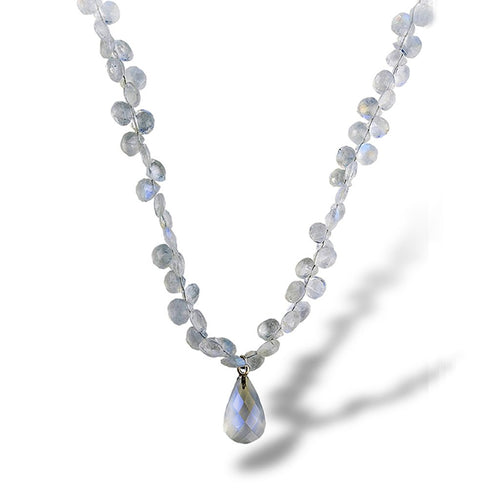A cascading necklace of tear drop stones of moonstone with a finishing touch of a moonstone tear drop dangle pendant