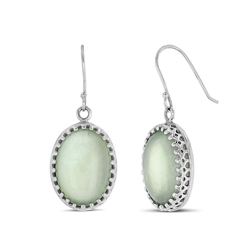 An earring dangle drop of green translucent stones with a diamond shape fencing