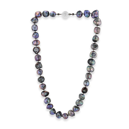 Freshwater pearl necklace of exotic hues of colors