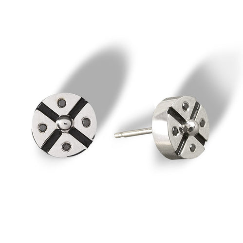 An alternative design of a screw bolt stud with black diamonds and enamel