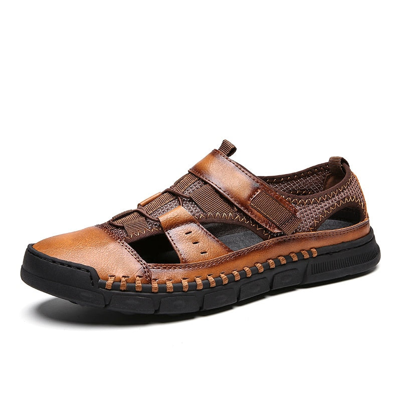 2019 New Genuine Leather Cowhide Men Sandals