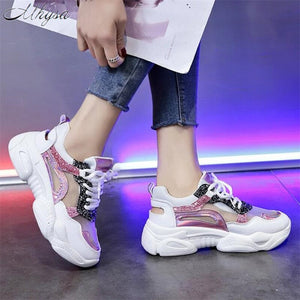 New Fashion Bling Platform Breathable Mesh Sneakers