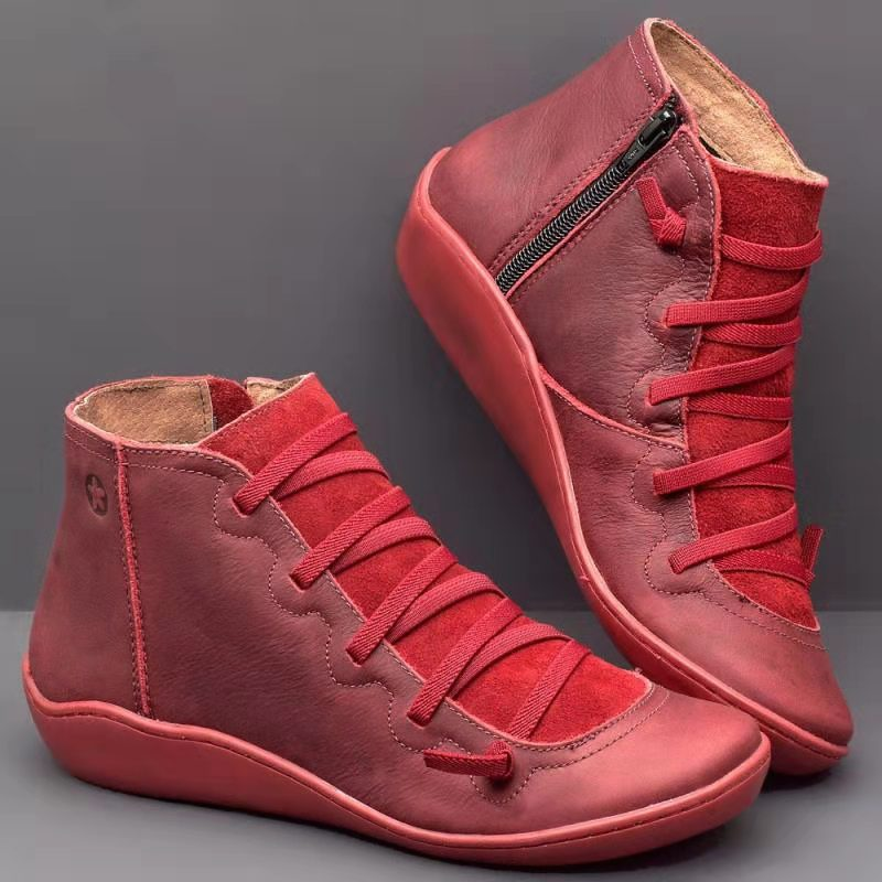 Fashion Leather Cross Strappy Vintage Women's Boots