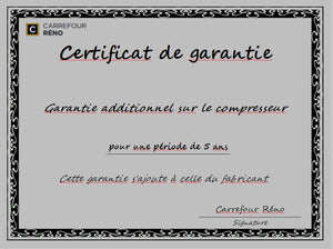 Garantie additionnelle de 5 ans sur le compresseur