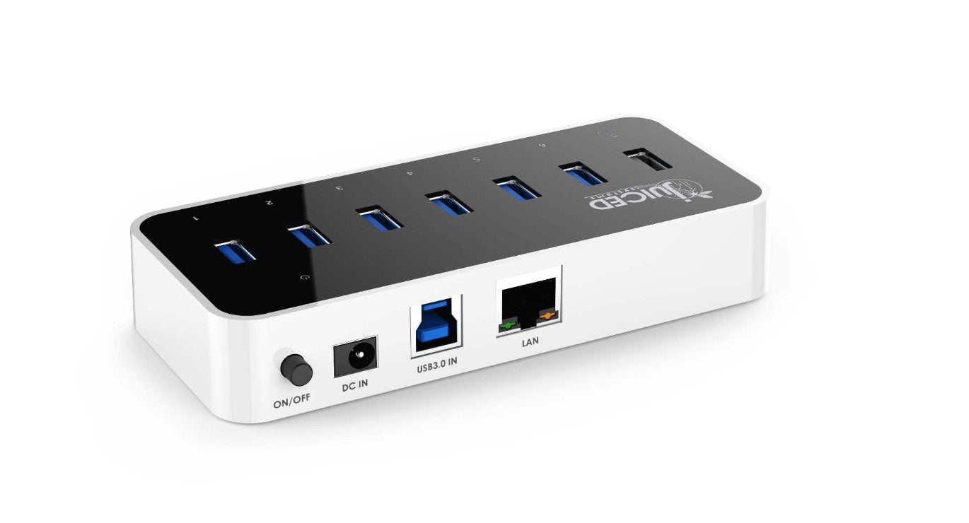 6+1+1 USB 3.0 Gigabit Ethernet Smart Charging Hub - Juiced Systems