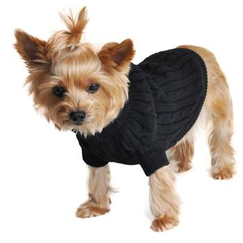 Cable Knit Dog Sweater - Jet Black