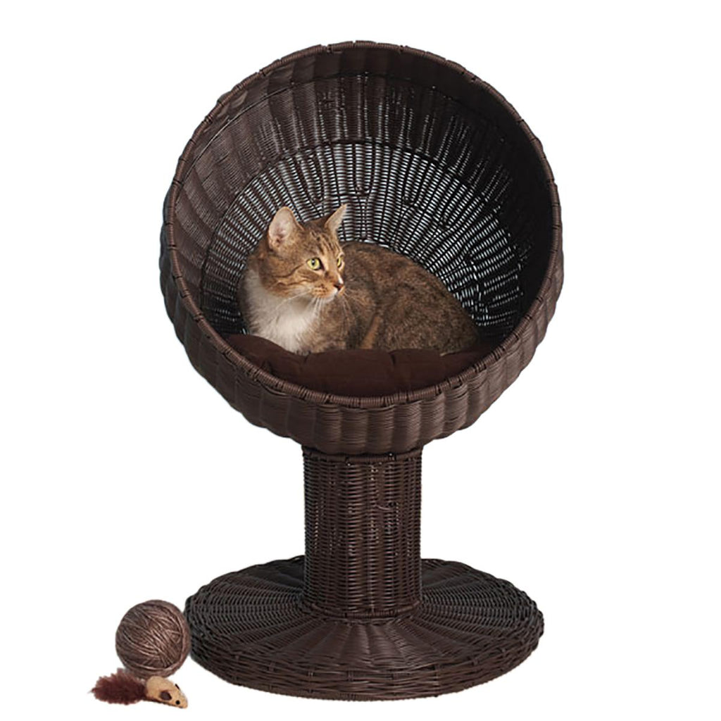 Refined Feline Kitty Ball Cat Bed - Espresso