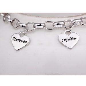 Mother's Personalized Heart Charm Bracelet