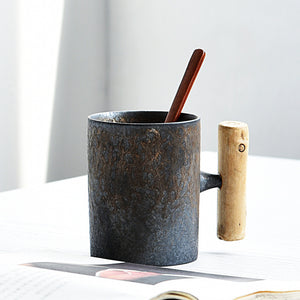 300ml Vintage Japanese Mug with Wooden Handgrip