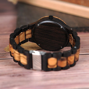 Wooden Men's Watch Retro Zebra