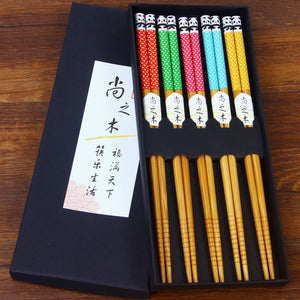 5 Pairs Natural Bamboo Chopsticks