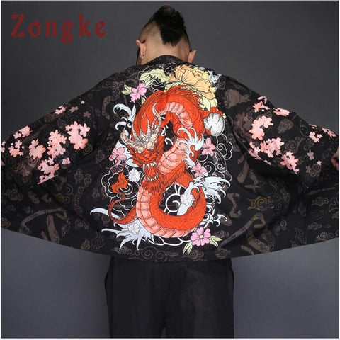 Image of Zongke Japanese Kimono Cardigan Men Dragon