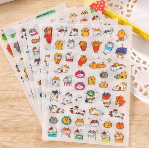 6sheets/pack per lot Kawaii Japan Cat stickers