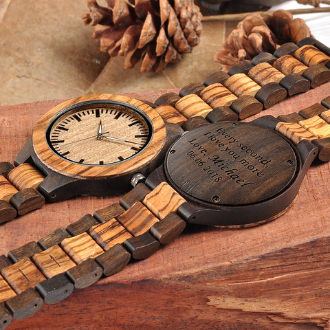 Engraved Wooden Watch Personalized Gifts