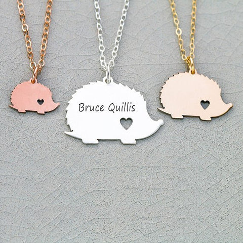 Personalized Hedgehog Necklace [ fill the Name in the description ]