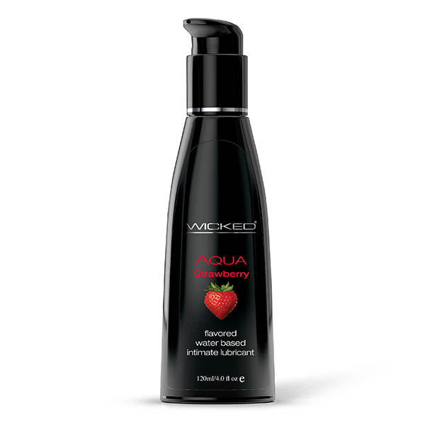 Wicked Aqua Strawberry - Strawberry Flavoured Water Based Lubricant - 120 ml (4 oz) Bottle