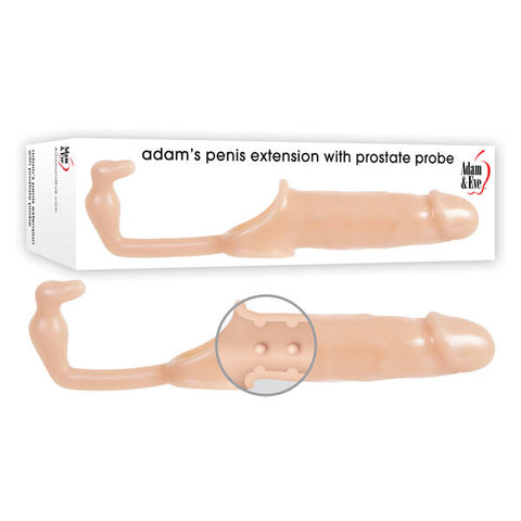 Adam & Eve Adam's Penis Extension With Anal Leash - Flesh Penis Extender Sleeve with Anal Plug