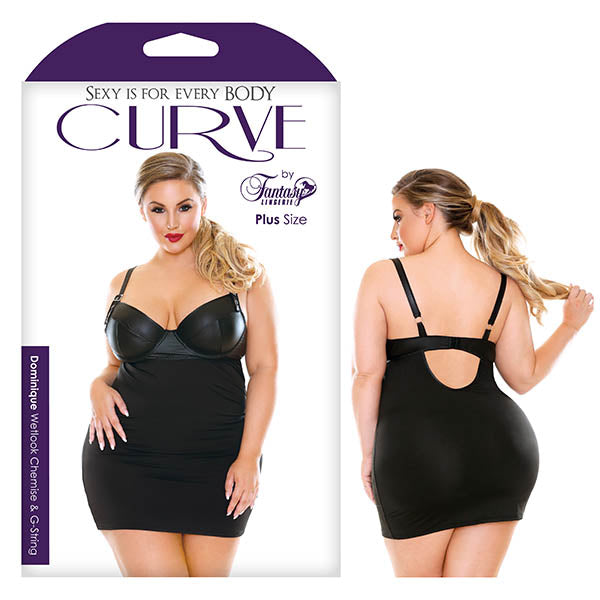 Curve Dominique Wetlook Chemise & G-String - Black - 3X/4X - Brown Sugar Industries