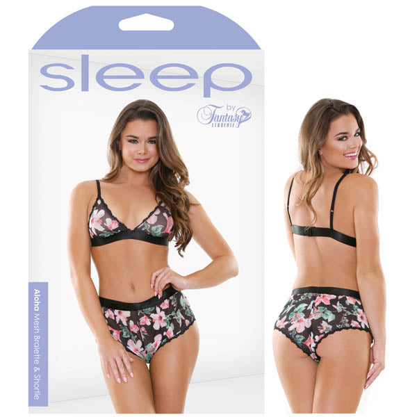 Sleep Aloha Mesh Bralette & Shortie - Floral - S/M Size