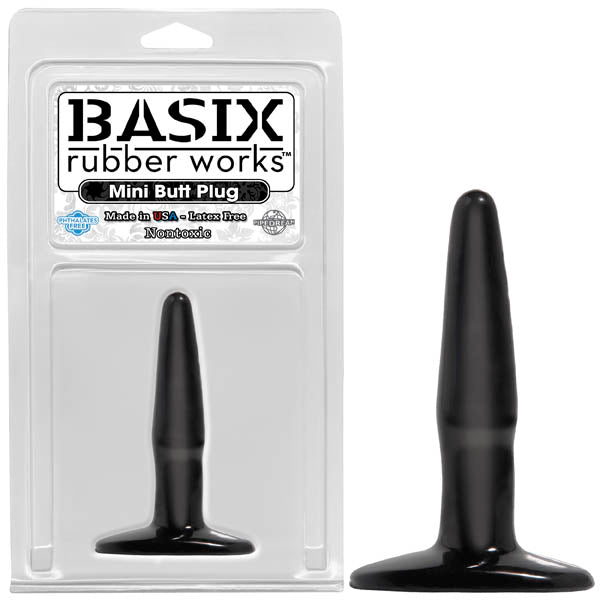 Basix Rubber Works Mini Butt Plug - Black 10.8 cm (4.25'') Butt Plug - Brown Sugar Industries