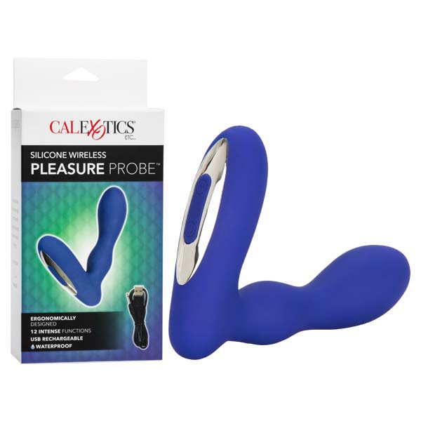 Silicone Wireless Pleasure Probe - Blue 10.25 cm USB Rechargeable Vibrating Anal Probe - Brown Sugar Industries