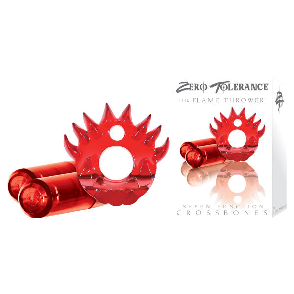Crossbones - The Flame Thrower - Red Cock Ring with 2 Red Vibrating Bullets