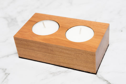 Twin Tealight Holder - Rimu - Refined Handmade