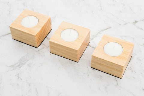 Tealight Holder Set - Pine - Refined Handmade