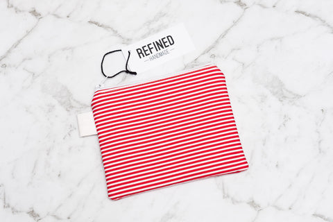 Small Pouch - Red Stripes - Refined Handmade