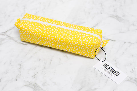 Pencil Case - Yellow Dots - Refined Handmade