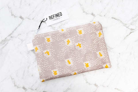 Handmade large pouch in a grey and yellow confetti print.