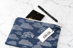 Handmade large pouch in a navy blue cloud print.