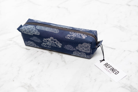 Pencil Case - Navy Clouds