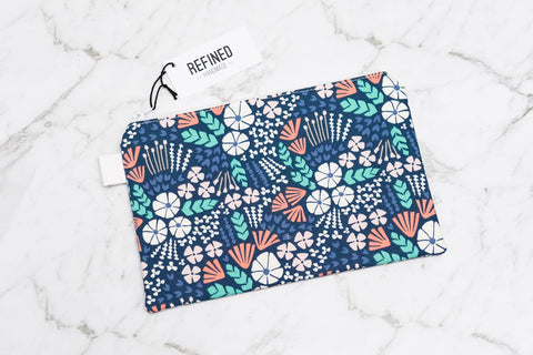 Handmade large pouch in a blue ocean print.