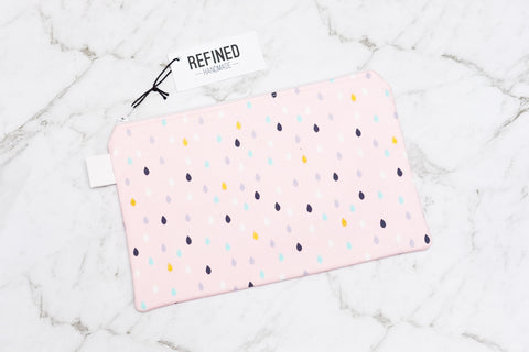 Handmade large pouch in a pink droplet print.