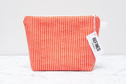 Red Geometric Makeup Bag