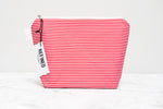 Handmade large makeup bag in a red and white striped print.