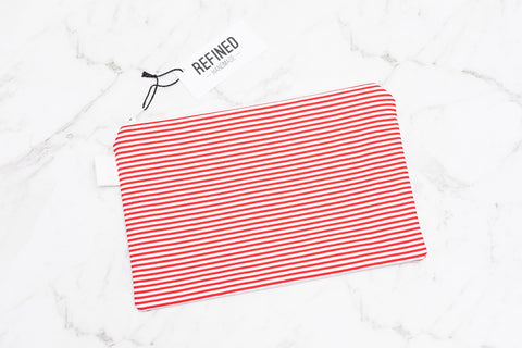 Handmade large pouch in a red and white striped print.
