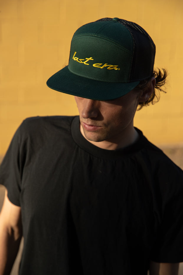 New Script 7 Panel Mesh Trucker Hat