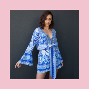 Camilla | Throwing Shade Playsuit | Blue & White