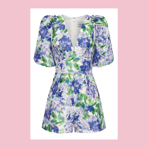 Sheike | Monet Playsuit | White, Blue & Green