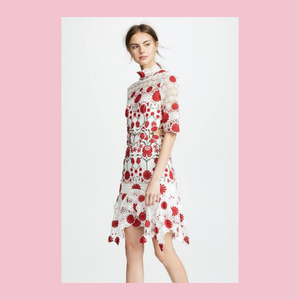 Thurley | English Rose Frock | Ivory & Red